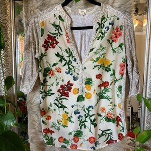 S Anthropologie floral blouse